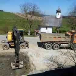 Erdarbeiten für das Fundament
