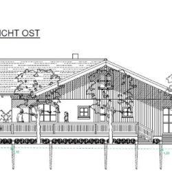 Köhldorfner Muster-Holzhaus Eingabeplan Ansicht Ost