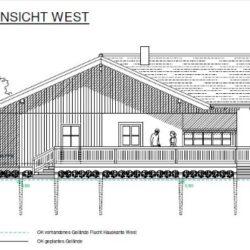 Köhldorfner Muster-Holzhaus Eingabeplan Ansicht Süd