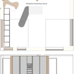 Köhldorfner Musterhaus Grundriss Küchenzeile mit Kochstelle + Ansicht Hochschrank