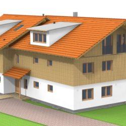 Köhldorfner Holzhaus Referenzobjekt Oase Thalham Nordhaus NW-Seite