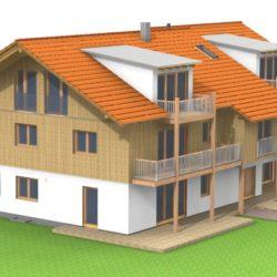 Köhldorfner Holzhaus Referenzobjekt Oase Thalham Nordhaus SW-Seite